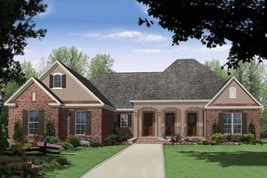 Country Exterior - Front Elevation Plan #21-395