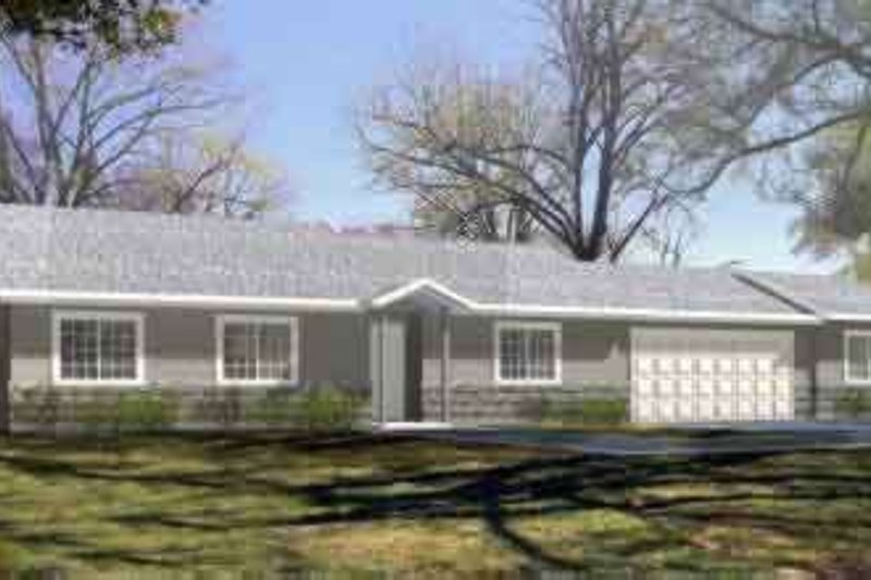 Ranch Style House Plan - 3 Beds 2 Baths 1334 Sq/Ft Plan #1-1190 Exterior - Front Elevation
