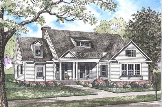 Country Exterior - Front Elevation Plan #923-35