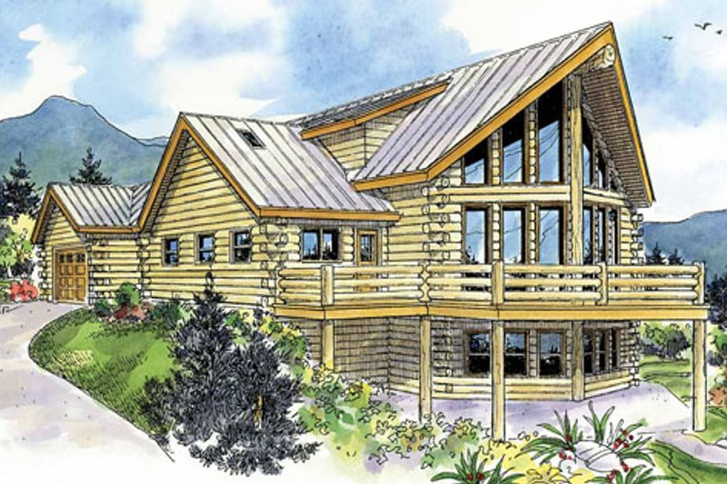 Log Exterior - Front Elevation Plan #124-766