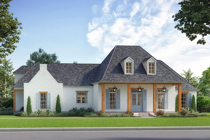 Country Exterior - Front Elevation Plan #1074-23