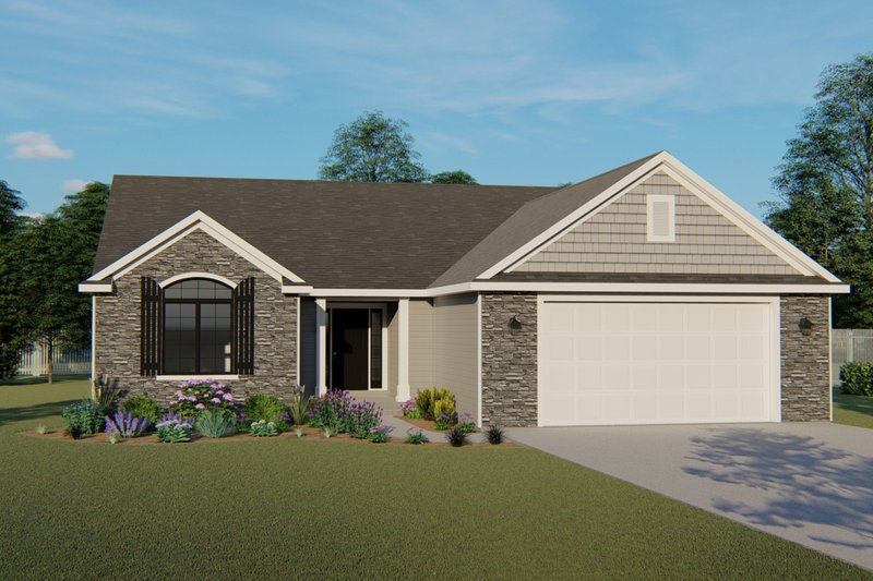 Architectural House Design - Craftsman Exterior - Front Elevation Plan #1064-61