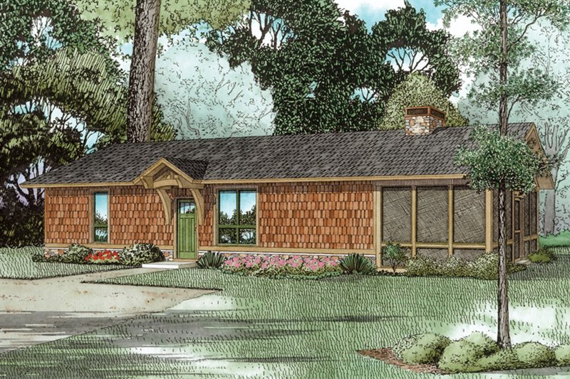 Cabin Exterior - Front Elevation Plan #17-3417