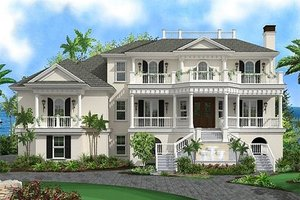 Beach Exterior - Front Elevation Plan #27-480