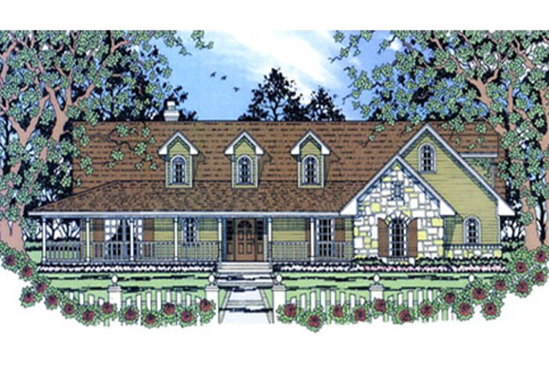 Country Exterior - Front Elevation Plan #42-373