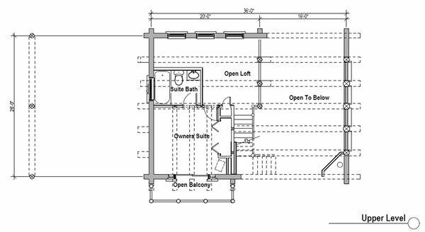 Log Style House Plan - 2 Beds 2 Baths 1394 Sq/Ft Plan #451-11 Floor Plan - Upper Floor Plan