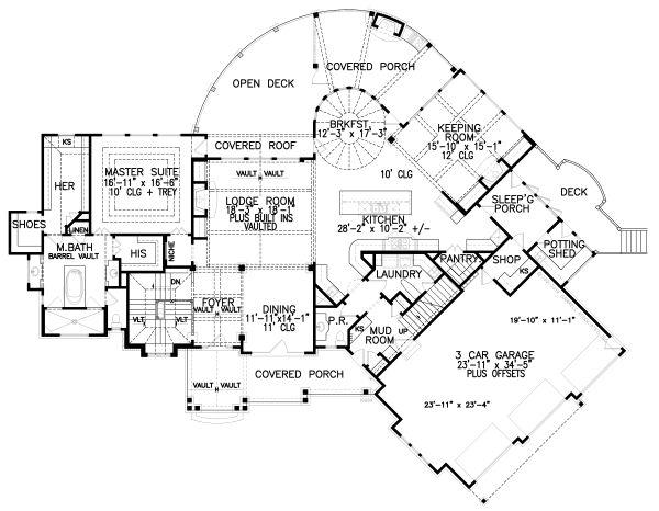 Craftsman Floor Plan - Main Floor Plan Plan #54-391