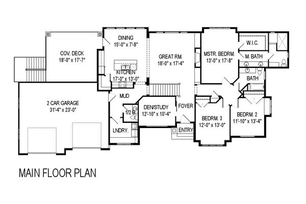 Modern Style House Plan - 5 Beds 3.5 Baths 3756 Sq/Ft Plan #920-41 Floor Plan - Main Floor Plan
