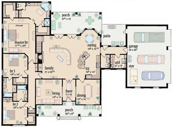 Ranch Floor Plan - Main Floor Plan Plan #36-477