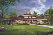 Prairie Style House Plan - 3 Beds 2.5 Baths 2626 Sq/Ft Plan #72-153 Exterior - Front Elevation