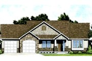Craftsman Style House Plan - 2 Beds 2 Baths 1150 Sq/Ft Plan #58-205 Exterior - Front Elevation