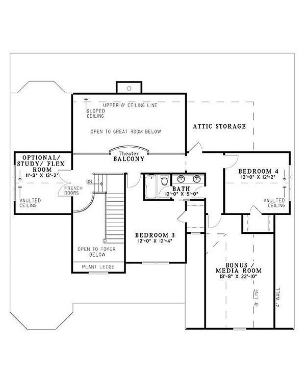 Country Floor Plan - Upper Floor Plan Plan #17-1169