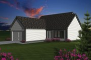 Cottage Style House Plan - 2 Beds 1.5 Baths 1398 Sq/Ft Plan #70-1074 Exterior - Rear Elevation