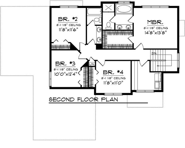 Floor Plan - Upper Floor Plan Plan #70-1102