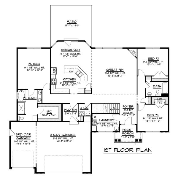 Ranch Floor Plan - Main Floor Plan #1064-47