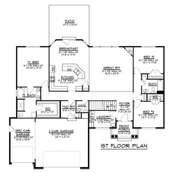 Ranch Floor Plan - Main Floor Plan #1064-47