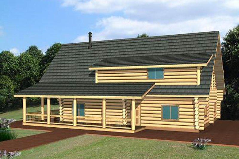 Log Exterior - Front Elevation Plan #117-553