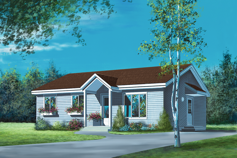 Country Style House Plan - 3 Beds 1 Baths 1064 Sq/Ft Plan #25-4829 Exterior - Front Elevation