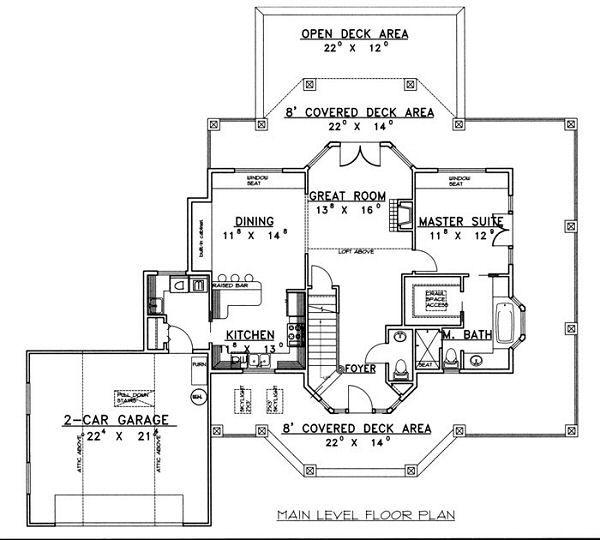 Bungalow Floor Plan - Main Floor Plan Plan #117-539