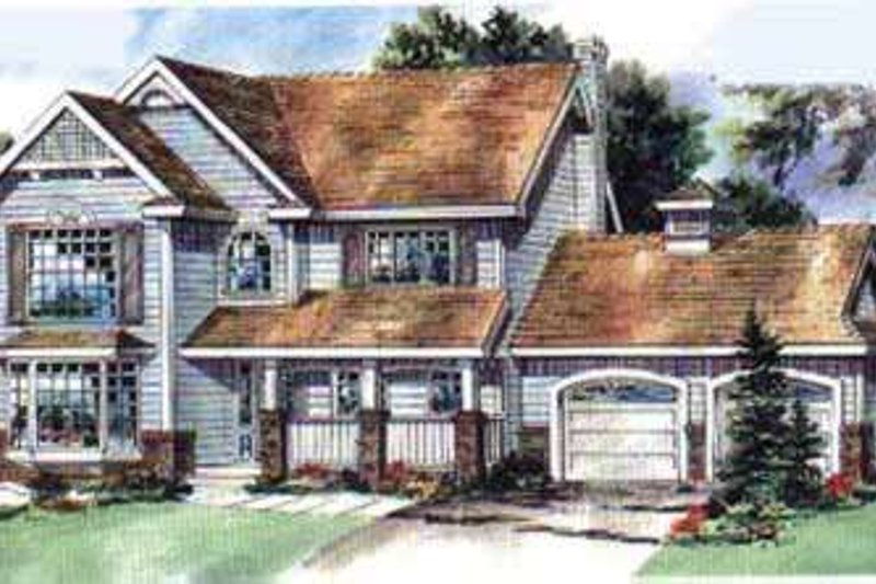 Traditional Style House Plan - 3 Beds 2.5 Baths 2092 Sq/Ft Plan #18-342 Exterior - Front Elevation