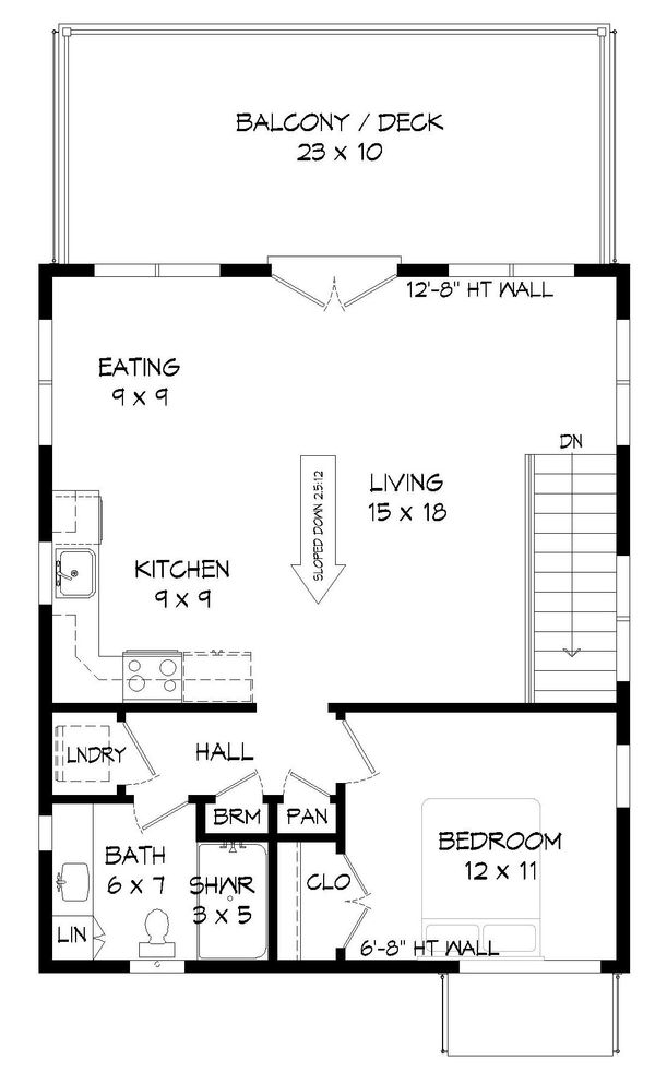Contemporary Floor Plan - Lower Floor Plan Plan #932-41