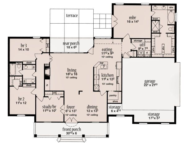 European Floor Plan - Main Floor Plan Plan #36-483