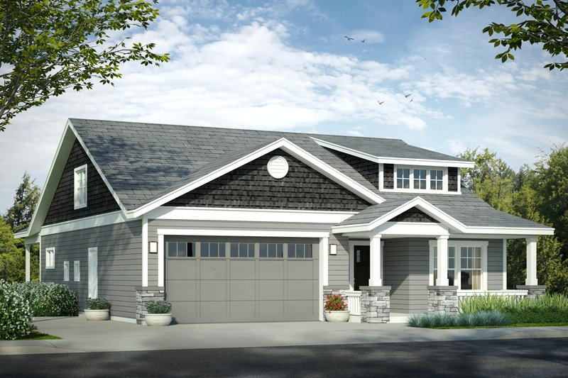 Bungalow Exterior - Front Elevation Plan #124-1028