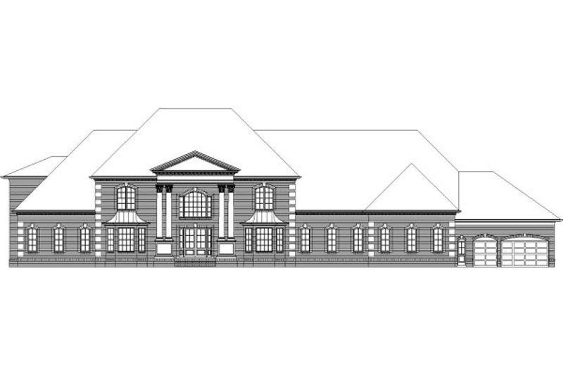 European Style House Plan - 5 Beds 6.5 Baths 11144 Sq/Ft Plan #329-330 Exterior - Front Elevation
