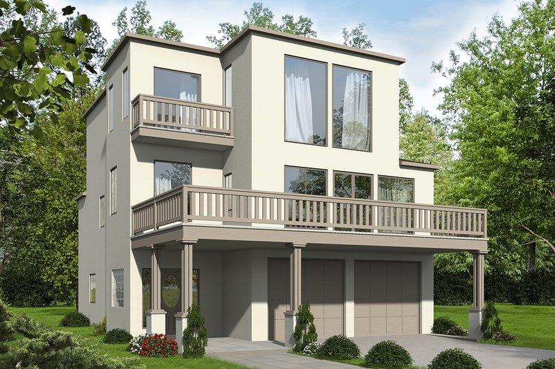 House Plan Design - Mediterranean Exterior - Front Elevation Plan #117-884