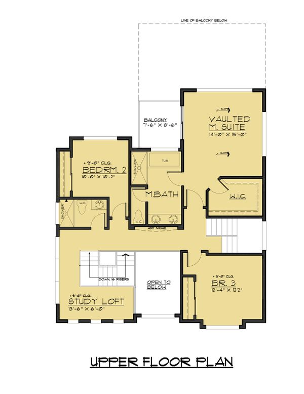 Modern Floor Plan - Upper Floor Plan Plan #1066-67