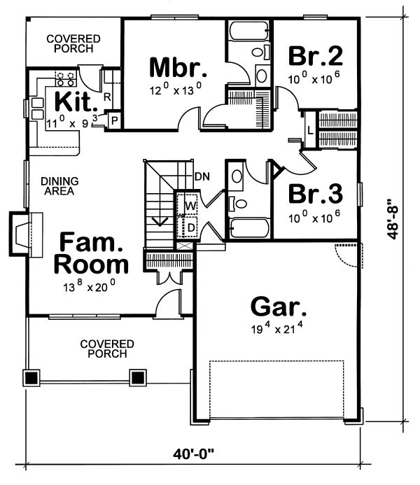 Cottage Floor Plan - Main Floor Plan Plan #20-1205