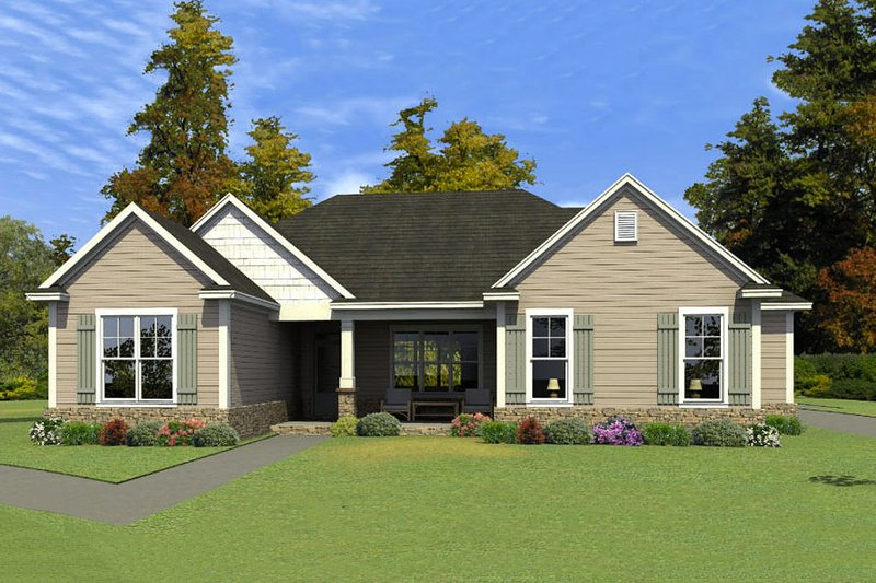 Traditional Style House Plan - 3 Beds 2 Baths 1798 Sq/Ft Plan #63-410 Exterior - Front Elevation