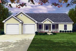 Ranch Exterior - Front Elevation Plan #21-112