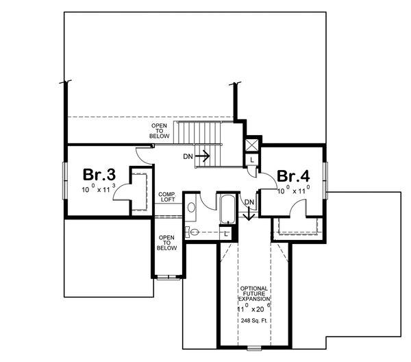 Craftsman Floor Plan - Upper Floor Plan Plan #20-2317