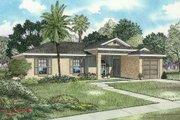 Mediterranean Style House Plan - 3 Beds 2 Baths 1320 Sq/Ft Plan #420-106 Exterior - Front Elevation
