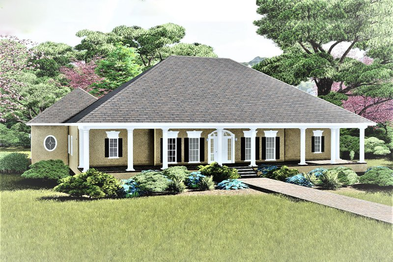 Southern Exterior - Front Elevation Plan #44-127 - Houseplans.com