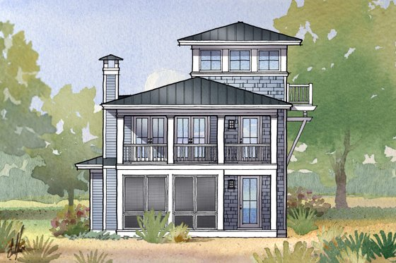 Beach Exterior - Front Elevation Plan #901-113
