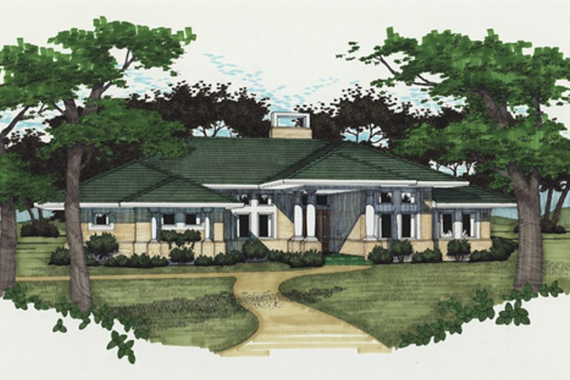 Dream House Plan - Prairie Exterior - Front Elevation Plan #120-150