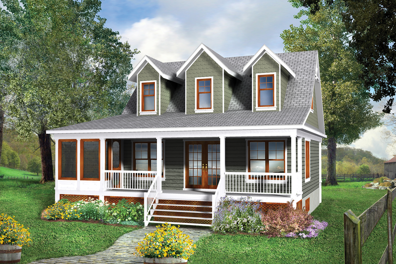 Country Style House Plan - 3 Beds 2 Baths 1214 Sq/Ft Plan #25-4748 Exterior - Front Elevation