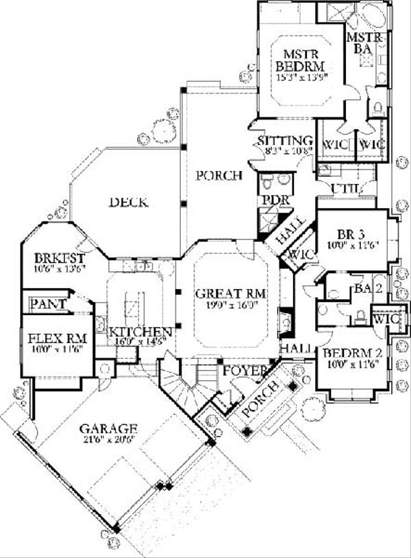 Traditional Floor Plan - Main Floor Plan Plan #80-170