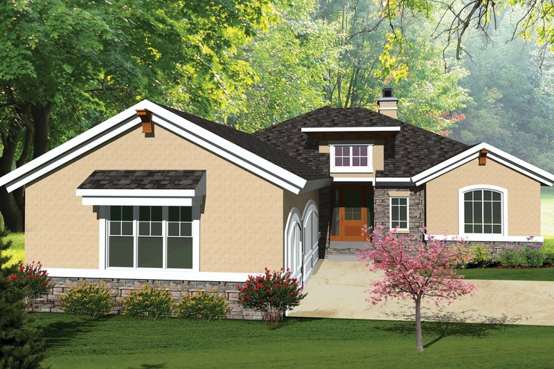 Ranch Exterior - Front Elevation Plan #70-1073