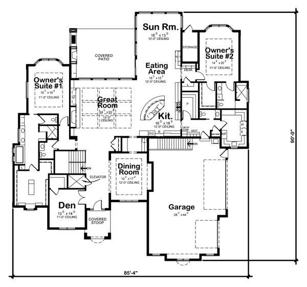 Architectural House Design - Traditional Floor Plan - Main Floor Plan #20-2408