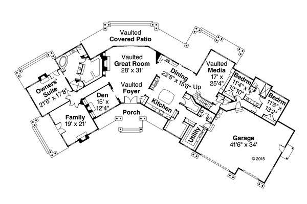 Craftsman Floor Plan - Main Floor Plan Plan #124-1014