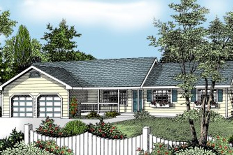 Ranch Style House Plan - 3 Beds 2 Baths 1487 Sq/Ft Plan #97-117 Exterior - Front Elevation