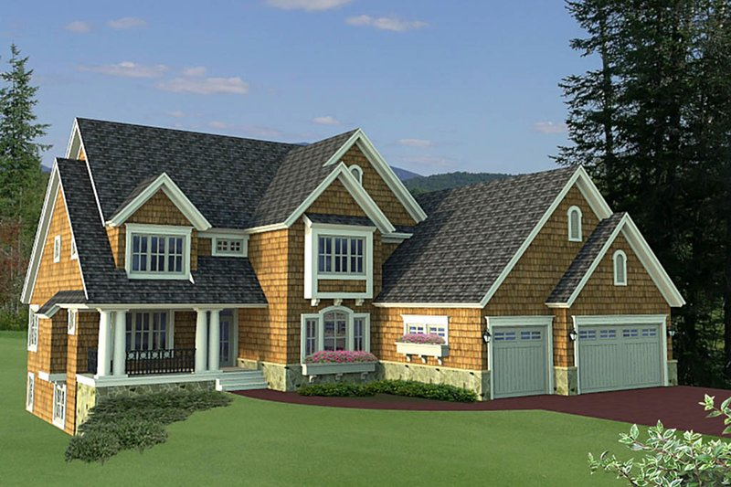 Country Style House Plan - 4 Beds 3.5 Baths 3621 Sq/Ft Plan #51-561 Exterior - Front Elevation
