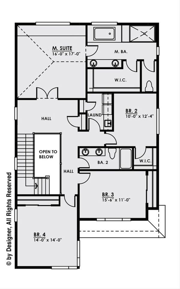 Contemporary Floor Plan - Upper Floor Plan #1066-7