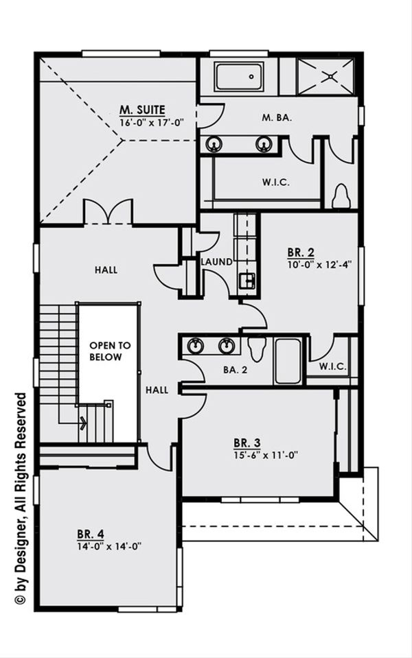 Contemporary Floor Plan - Upper Floor Plan Plan #1066-7