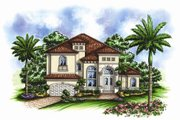 European Style House Plan - 4 Beds 3.5 Baths 3736 Sq/Ft Plan #27-424 Exterior - Front Elevation