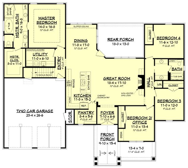 Country Floor Plan - Main Floor Plan Plan #430-194