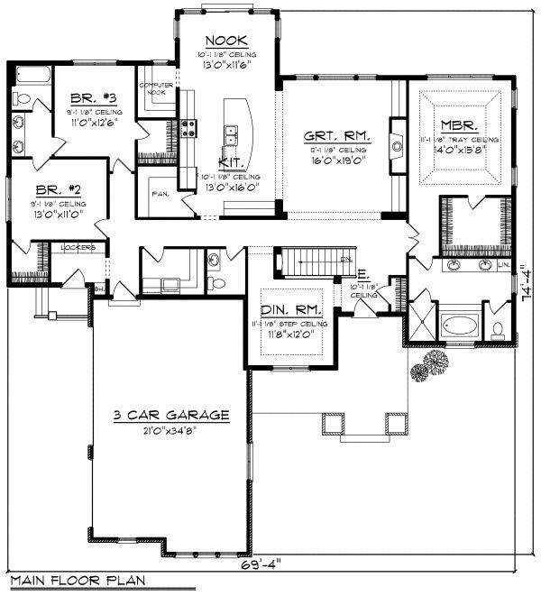 Dream House Plan - Farmhouse Floor Plan - Main Floor Plan #70-1172